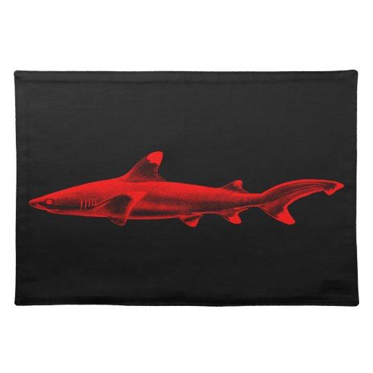 Vintage Reef Shark Illustration Red Black Sharks Placemats