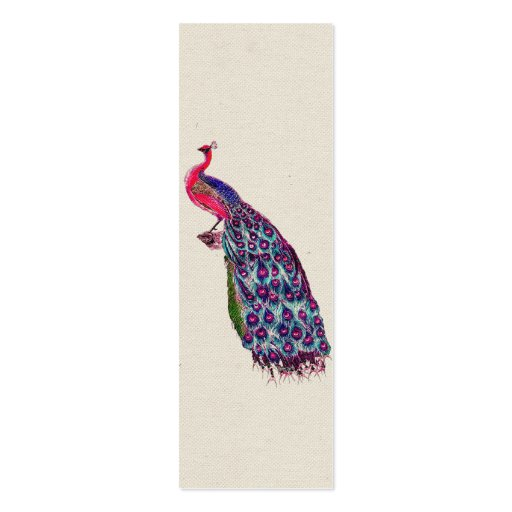Vintage Regal Peacock Bright girly Pink Teal Bird Business Card Template