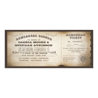 vintage rehearsal dinner ticket typography design card