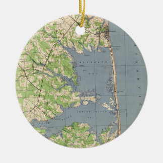 Vintage Rehoboth & Bethany Beach DE Map (1944) Christmas Ornament