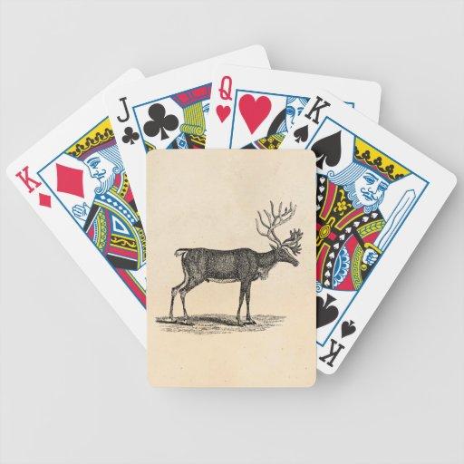 Vintage Reindeer Illustration -1800's Christmas Poker Deck