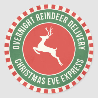 Vintage reindeer North Pole delivery gift sticker