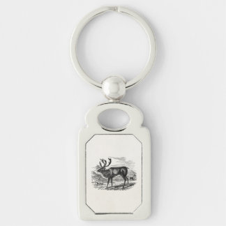 Vintage Reindeer Personalized Deer Illustration Key Ring