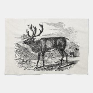 Vintage Reindeer Personalized Deer Illustration Tea Towel