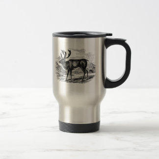 Vintage Reindeer Personalized Deer Illustration Travel Mug