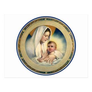 Vintage Relgious Christmas, Madonna and Child Postcard