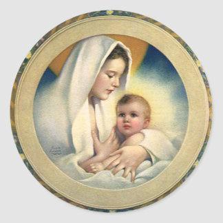 Vintage Relgious Christmas, Madonna and Child Round Sticker