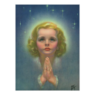 Vintage Religion, Angelic Girl Child Praying Halo Poster