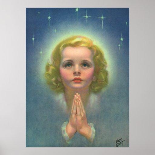 Vintage Religion, Angelic Girl Child Praying Halo Poster