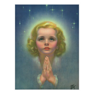 Vintage Religion, Angelic Girl with Halo Praying