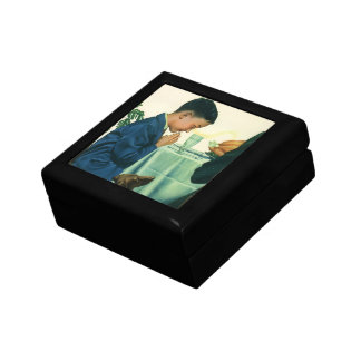 Vintage Religion, Boy Saying Grace at Thanksgiving Small Square Gift Box