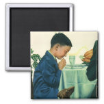 Vintage Religion, Boy Saying Grace at Thanksgiving Square Magnet