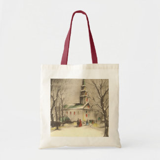 Vintage Religion, Church in Winter Snowscape Budget Tote Bag