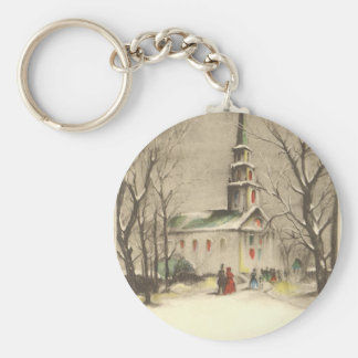 Vintage Religion, Church in Winter Snowscape Basic Round Button Key Ring