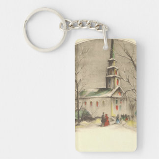 Vintage Religion, Church in Winter Snowscape Double-Sided Rectangular Acrylic Keychain