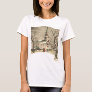 Vintage Religion, Church in Winter Snowscape T-Shirt