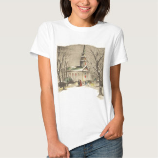 Vintage Religion, Church in Winter Snowscape Tshirts