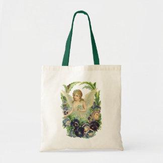 Vintage Religion, Easter Angel Purple Pansy Flower Budget Tote Bag