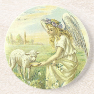 Vintage Religion Easter, Victorian Angel with Lamb Coasters