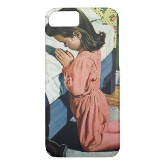 Vintage Religion, Girl Praying at Bedtime iPhone 7 Case