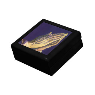 Vintage Religion, Hands Praying Towards Heaven Small Square Gift Box