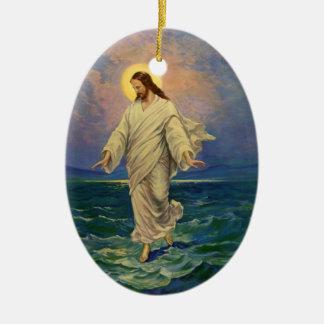 Vintage Religion, Jesus Christ is Walking on Water Ceramic Oval Decoration