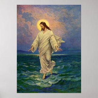 Vintage Religion, Jesus Christ is Walking on Water Poster