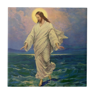 Vintage Religion, Jesus Christ is Walking on Water Small Square Tile
