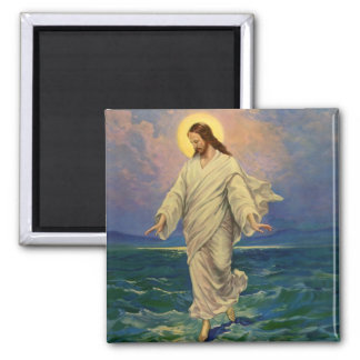 Vintage Religion, Jesus Christ is Walking on Water Square Magnet