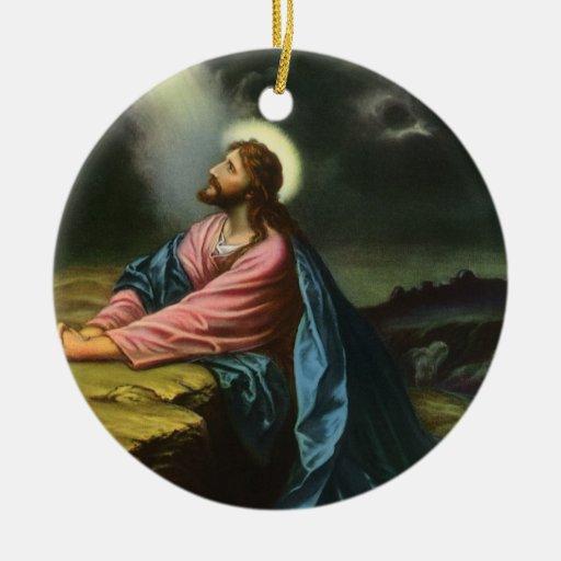 Vintage Religious Christmas Ornament: Vintage Religion, Jesus Christ Praying, Gethsemane
