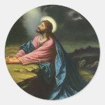 Vintage Religion, Jesus Christ Praying, Gethsemane Round Stickers
