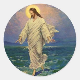 Vintage Religion, Jesus Portrait Walking on Water Round Sticker