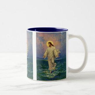 Vintage Religion, Jesus Portrait Walking on Water Two-Tone Mug