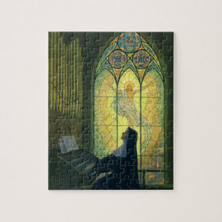 Vintage Religion, Nun Playing an Organ in Church Jigsaw Puzzle