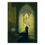 Vintage Religion, Nun Playing an Organ in Church Poster