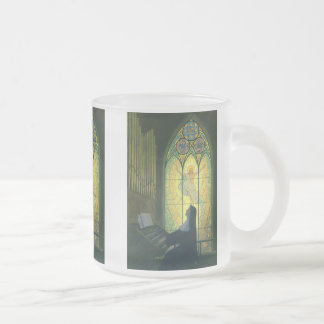 Vintage Religion, Nun Playing Organ in Church Frosted Glass Coffee Mug