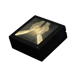 Vintage Religion, Portrait of Angels Praying Jesus Small Square Gift Box
