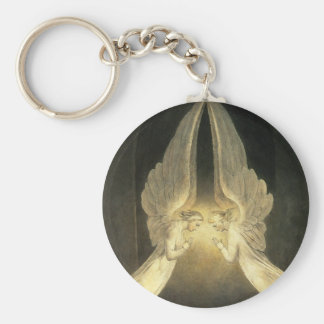 Vintage Religion, Praying Angels Portrait Basic Round Button Key Ring