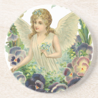 Vintage Religion, Purple Pansy Flower Easter Angel Coasters
