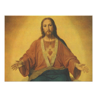 Vintage Religion, Sacred Heart of Jesus Christ Poster