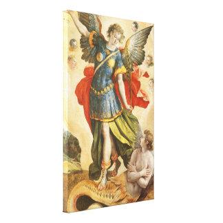 Vintage Religion, Saint Michael Defeats Lucifer Canvas Print