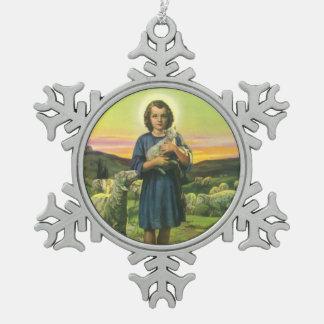 Vintage Religion, Shepherd Boy with Baby Lambs Pewter Snowflake Decoration