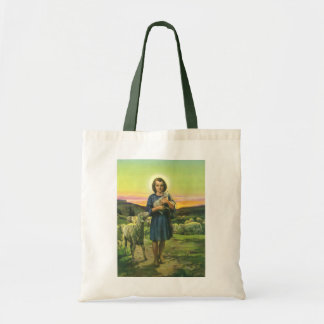 Vintage Religion, Shepherd Boy with Baby Lambs Tote Bag