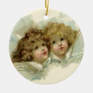 Vintage Religion, Victorian Angels in Clouds Round Ceramic Decoration