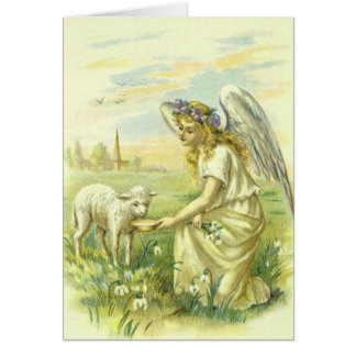 Vintage Religion Victorian Easter Angel With Lamb Card