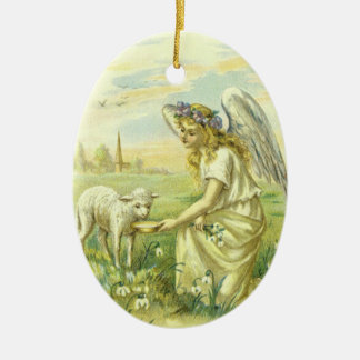 Vintage Religion, Victorian Easter Angel with Lamb Christmas Ornament
