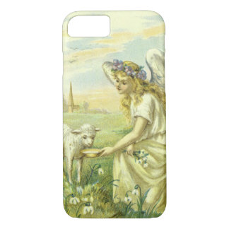 Vintage Religion, Victorian Easter Angel with Lamb iPhone 8/7 Case