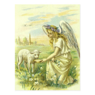 Victorian religious easter gifts gift ideas zazzle uk vintage religion victorian easter angel with lamb postcard negle Choice Image