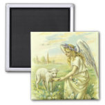 Vintage Religion, Victorian Easter Angel with Lamb Square Magnet