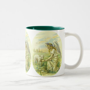 Victorian religious easter gifts gift ideas zazzle uk vintage religion victorian easter angel with lamb two tone coffee mug negle Choice Image